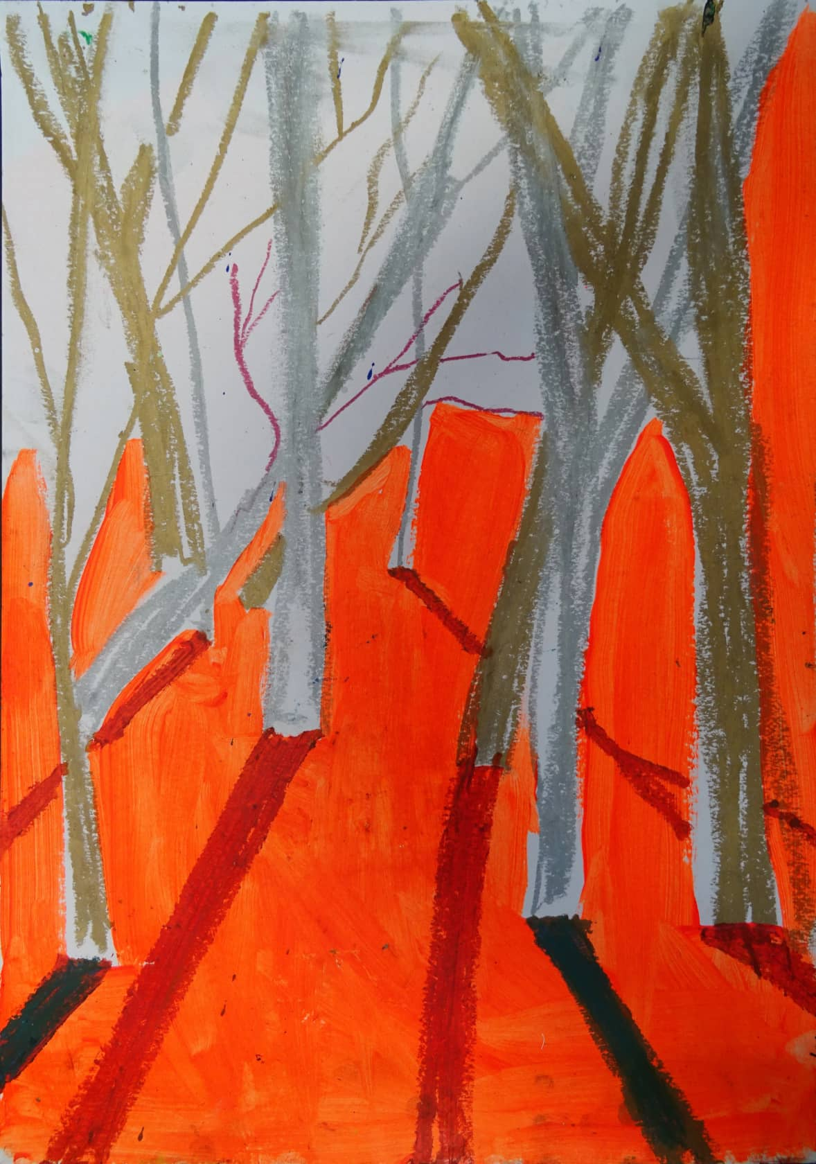 Chris Moon Study for Epping Forest 17 Oil Pastel and Charcoal on Paper