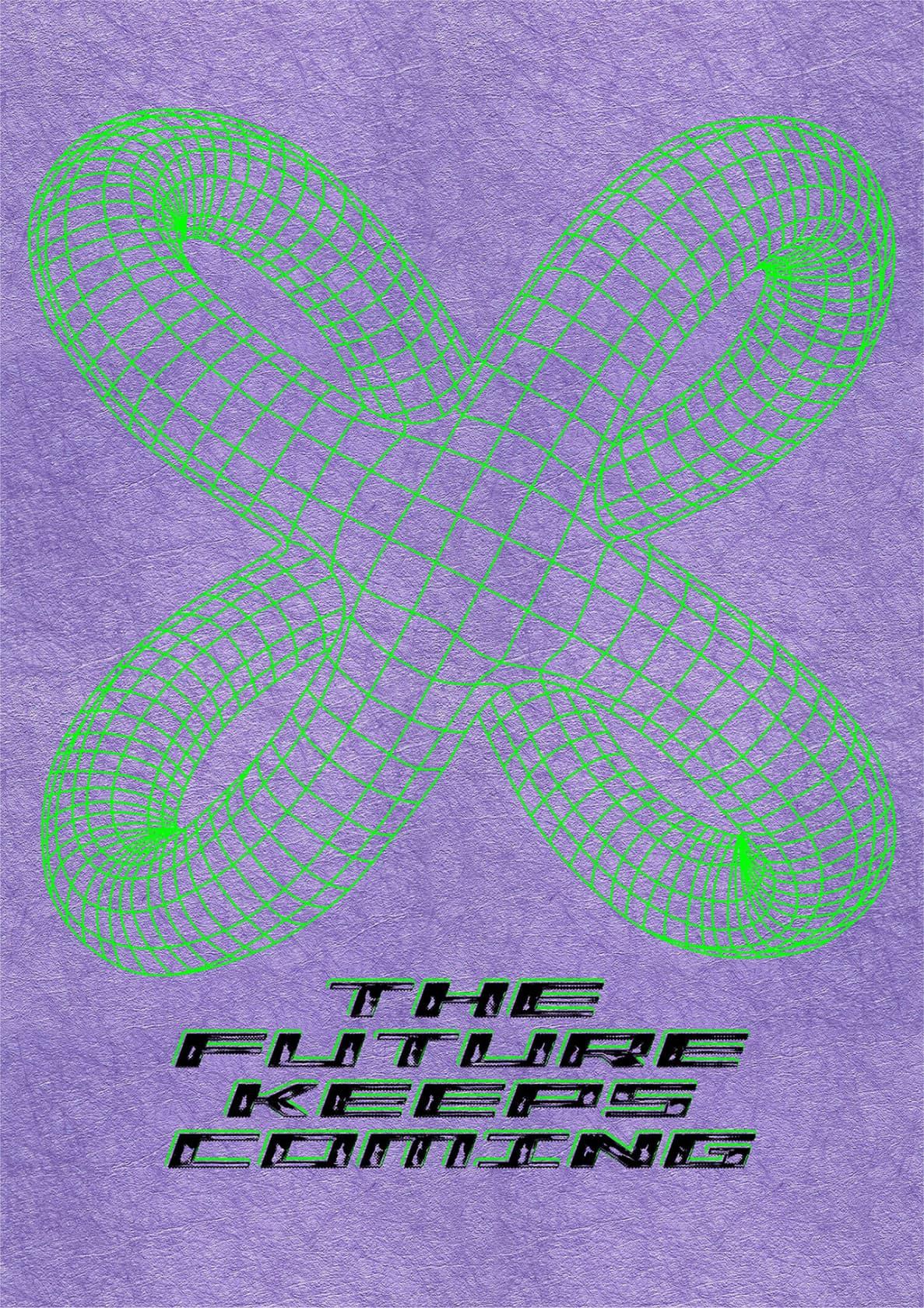 LIAM HODGES The Future Keeps Coming 2 colour screenprint onto G.F Smith Twist Lilac