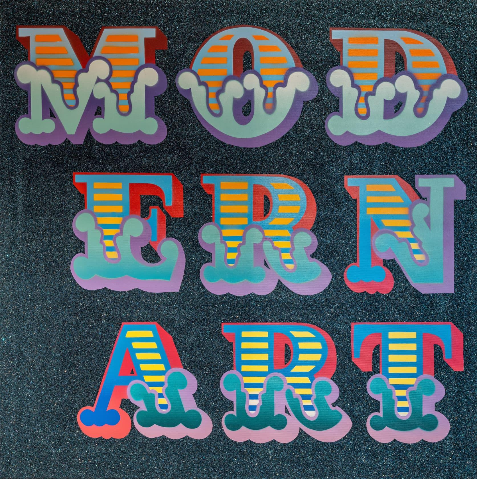 Ben Eine Modern Art Stencilled Spray Paint with Dark Blue Glitter New Circus Font