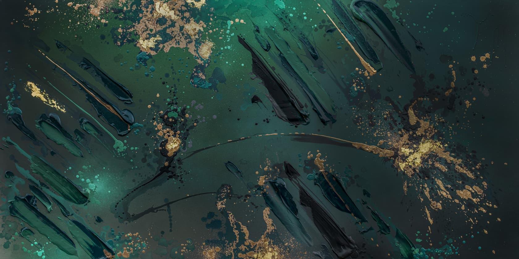 Mikael B Deep Sea #15 Acrylic, spray paint, iron oxide and 24-carat gold on canvas