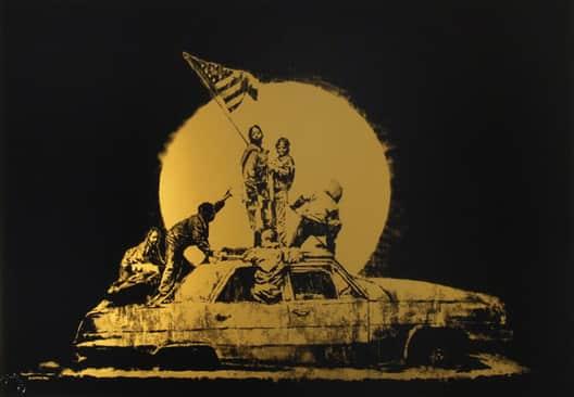 Banksy, Gold Flag, 2008
