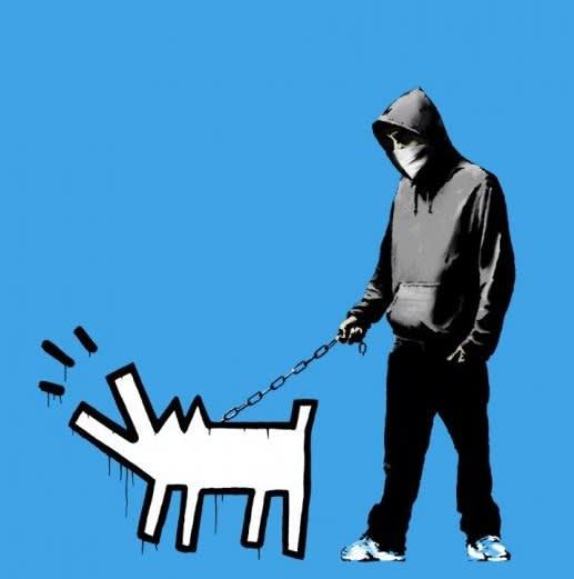 Banksy Choose Your Weapon - Sky Blue Screenprint