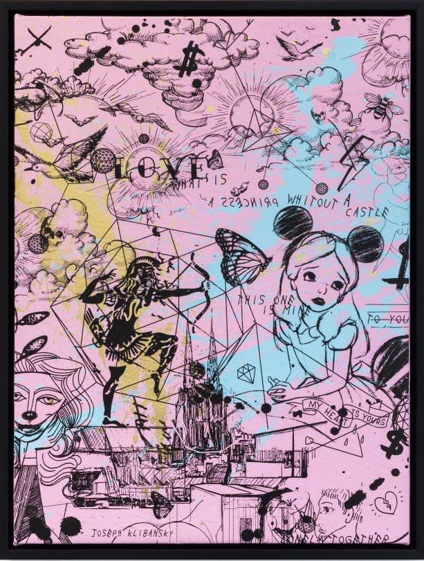Joseph Klibansky Behind the Clouds Pink/Black and Light Blue and Gold Splash Silkscreen and Acrylic on Canvas