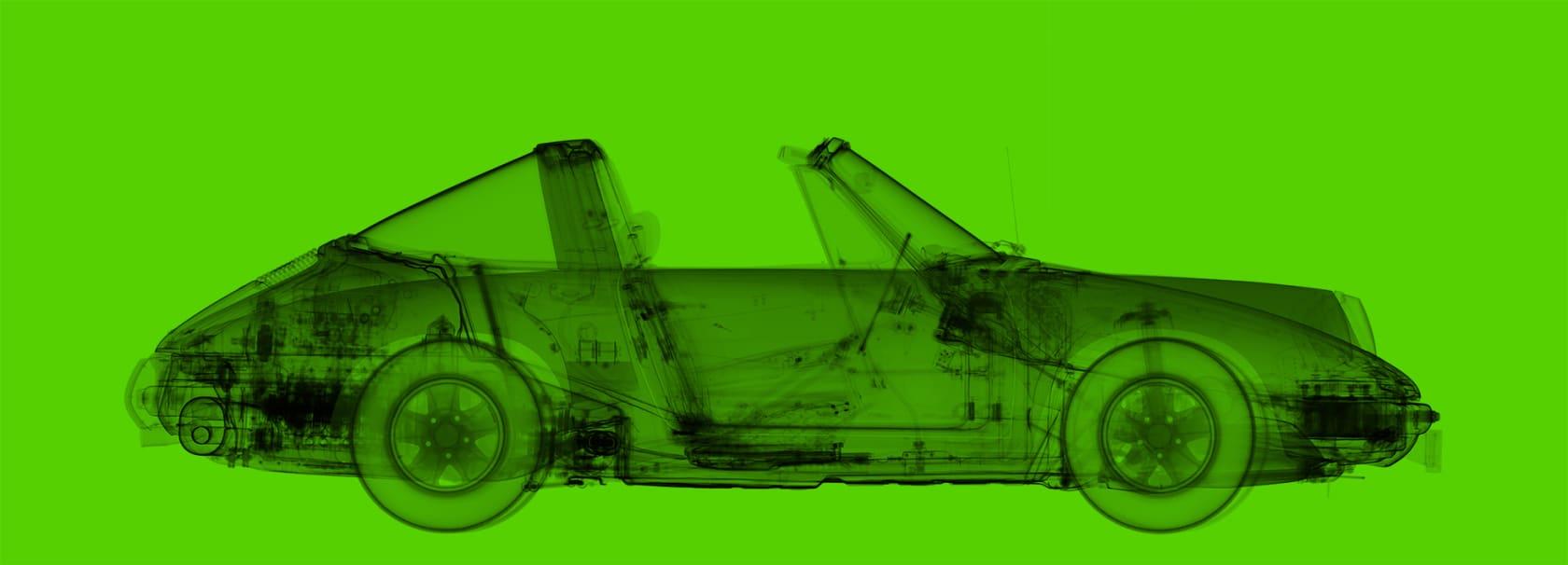 Nick Veasey 1972 Porsche 911 Targa Light Green Diasec C-Type Print onto Dibond with Matte Plexi Face