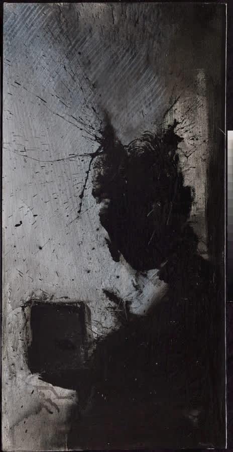 Richard Hambleton Shadow Head With Grey Background Oil on Canvas