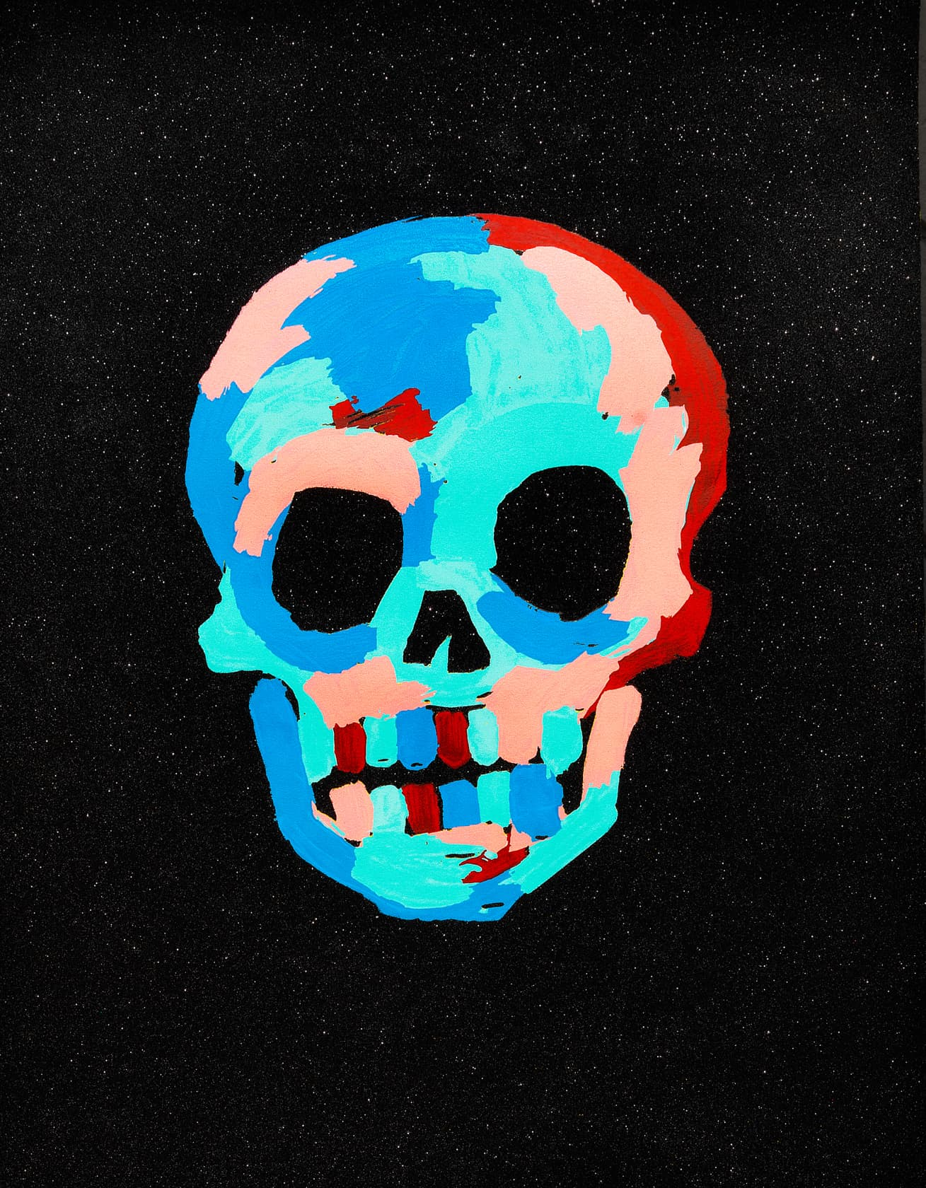 Bradley Theodore Skull - Black Silkscreen Print with Diamond Dust on 100% Cotton Archival Paper