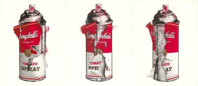 Mr Brainwash Torn Spray Can Set Silkscreen Edition Print on Paper