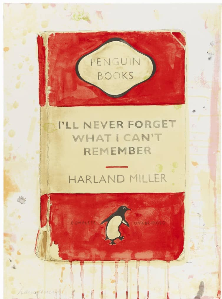 Harland Miller I'll Never Forget What I Can't Remember Screenprint
