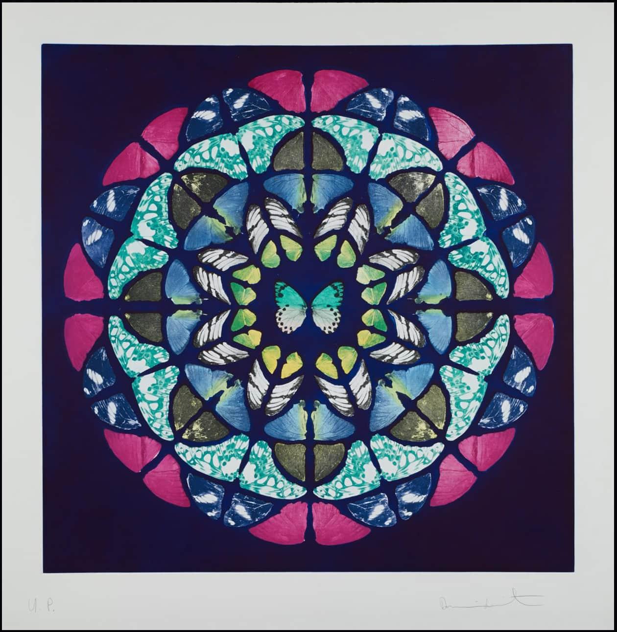 Damien Hirst UP from Sanctum Unique Colour Photogravure Etchings