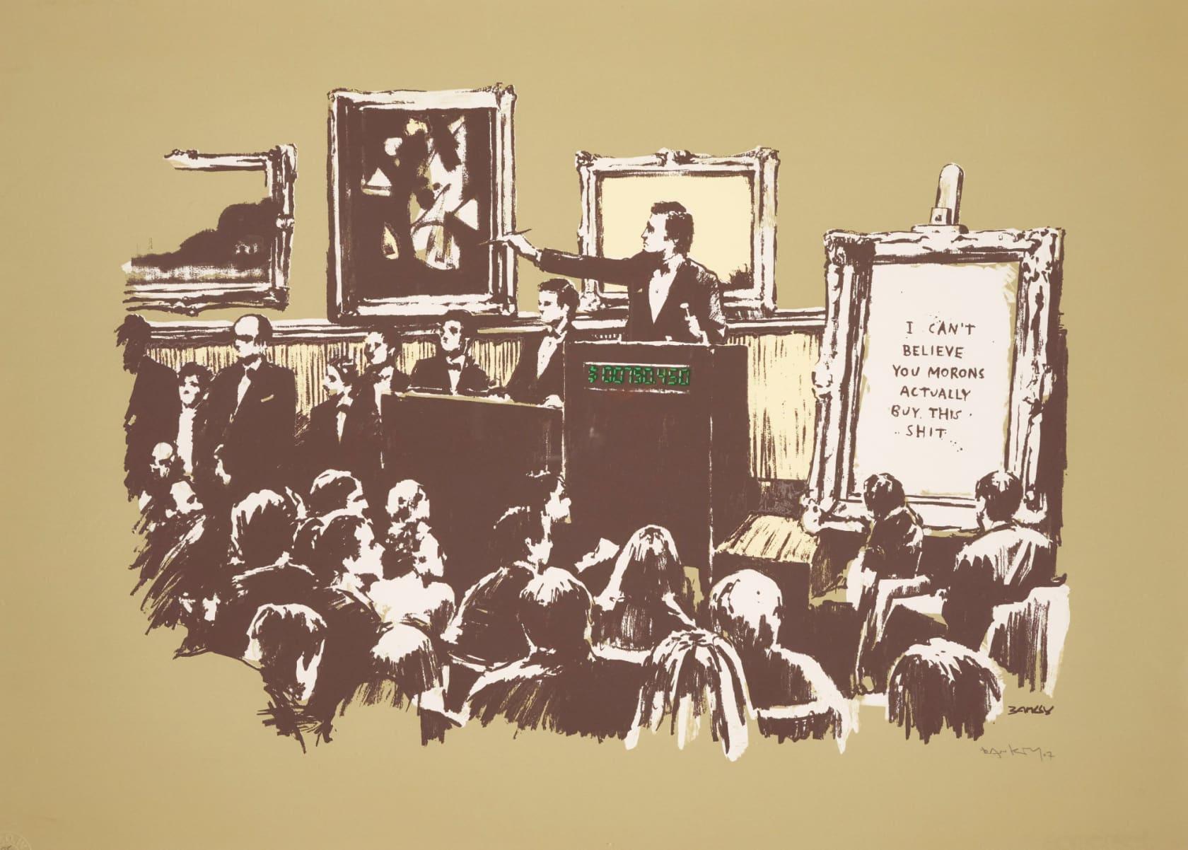 Banksy, Morons (Sepia) Signed, 2007