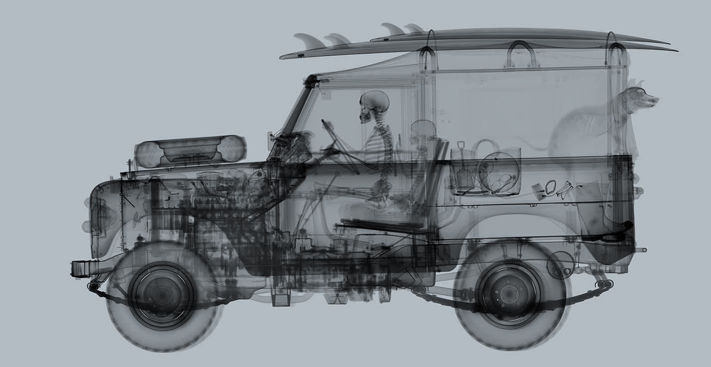 Nick Veasey Land Rover Surfer Mid Grey Diasec C-Type Print onto Dibond with Matte Plexi Face