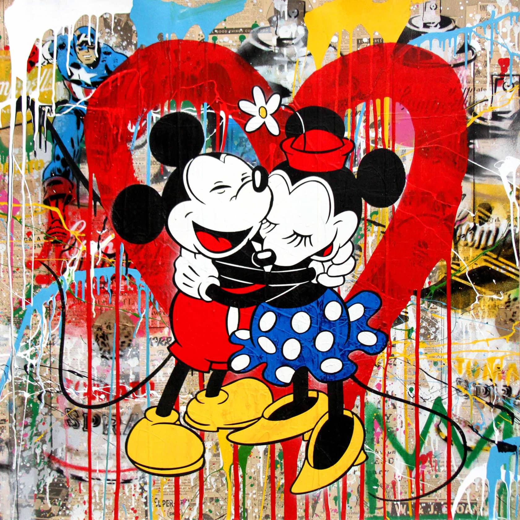 Mr Brainwash Mickey & Minnie Silkscreen and Mixed Media on Paper