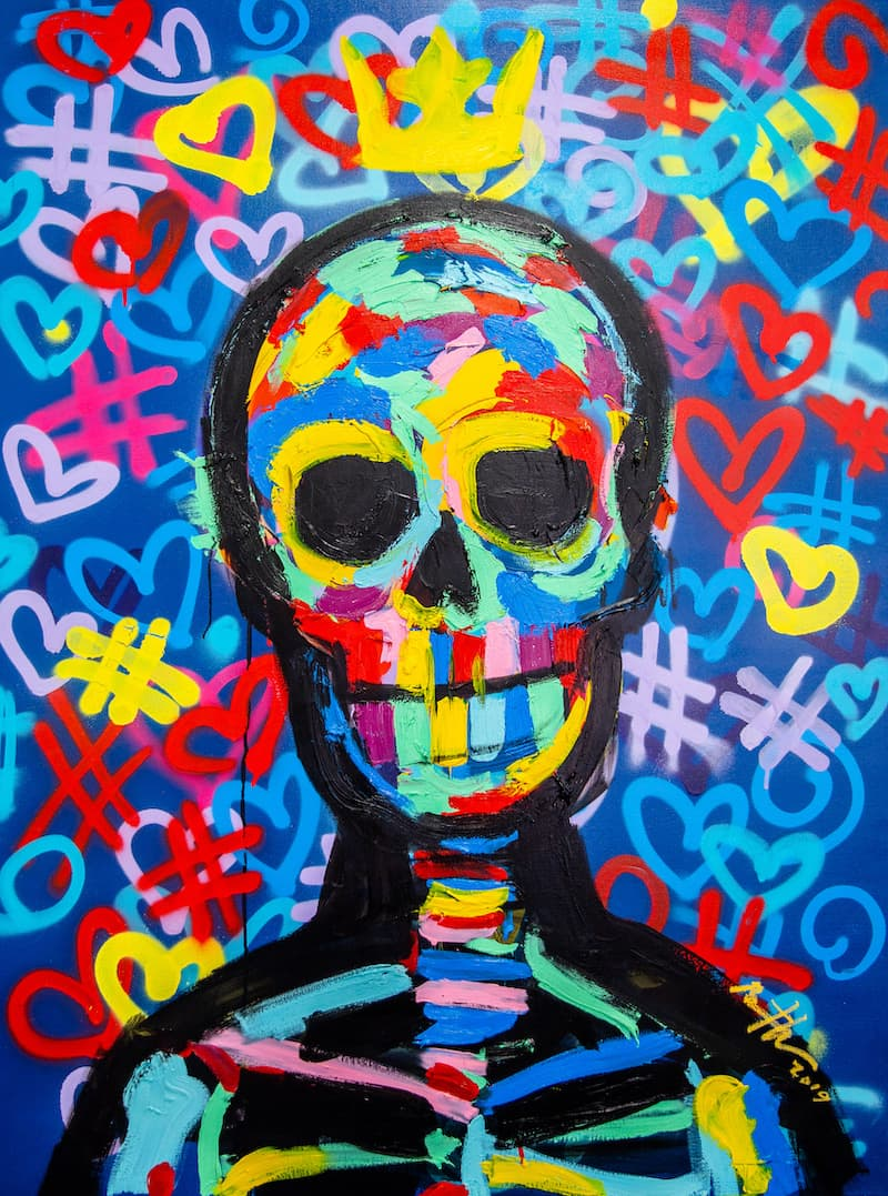 Bradley Theodore Street Skull Acrylic, Spray and Oil Stick on Canvas