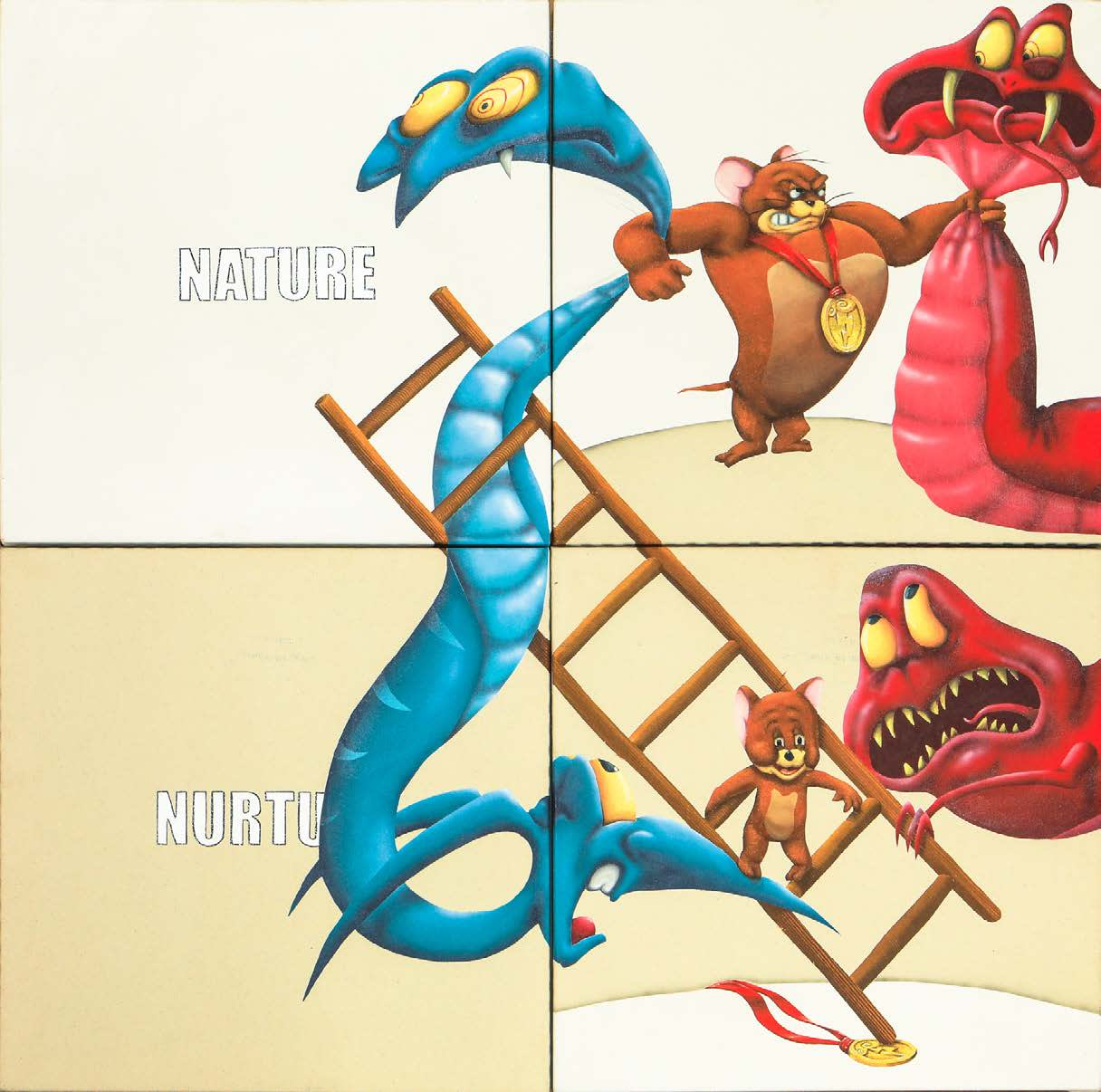 Sebastian Chaumeton Snakes and Ladders Acrylic and Oil on Canvas