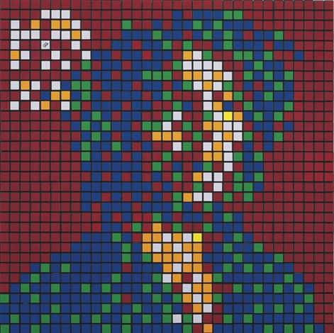 Invader Rubik Rebel Music (Bob Marley) Rubik's Cubes on Perspex