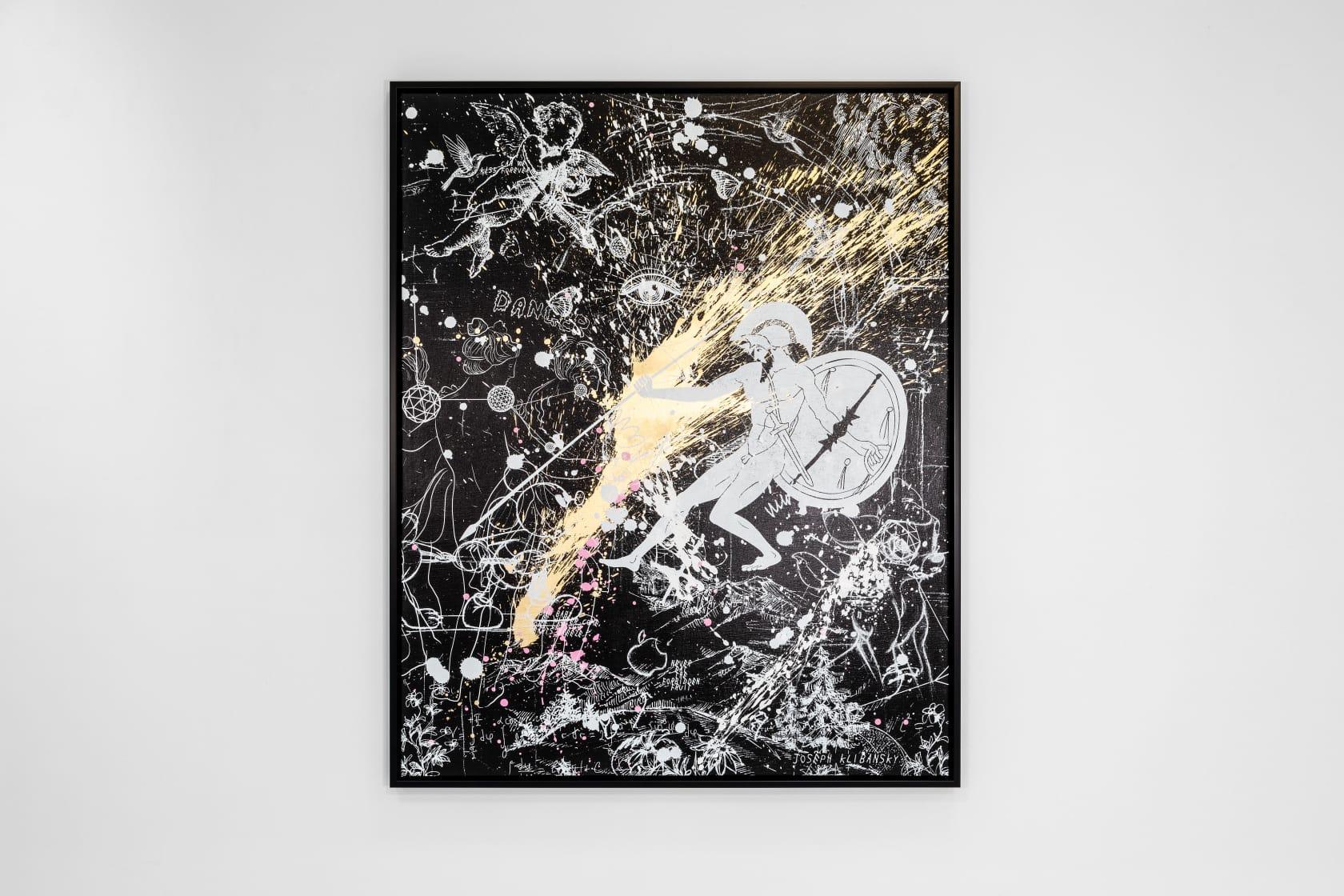 Joseph Klibansky, Into My Heart (Black/White, Gold, Pink and White Splash), 2021