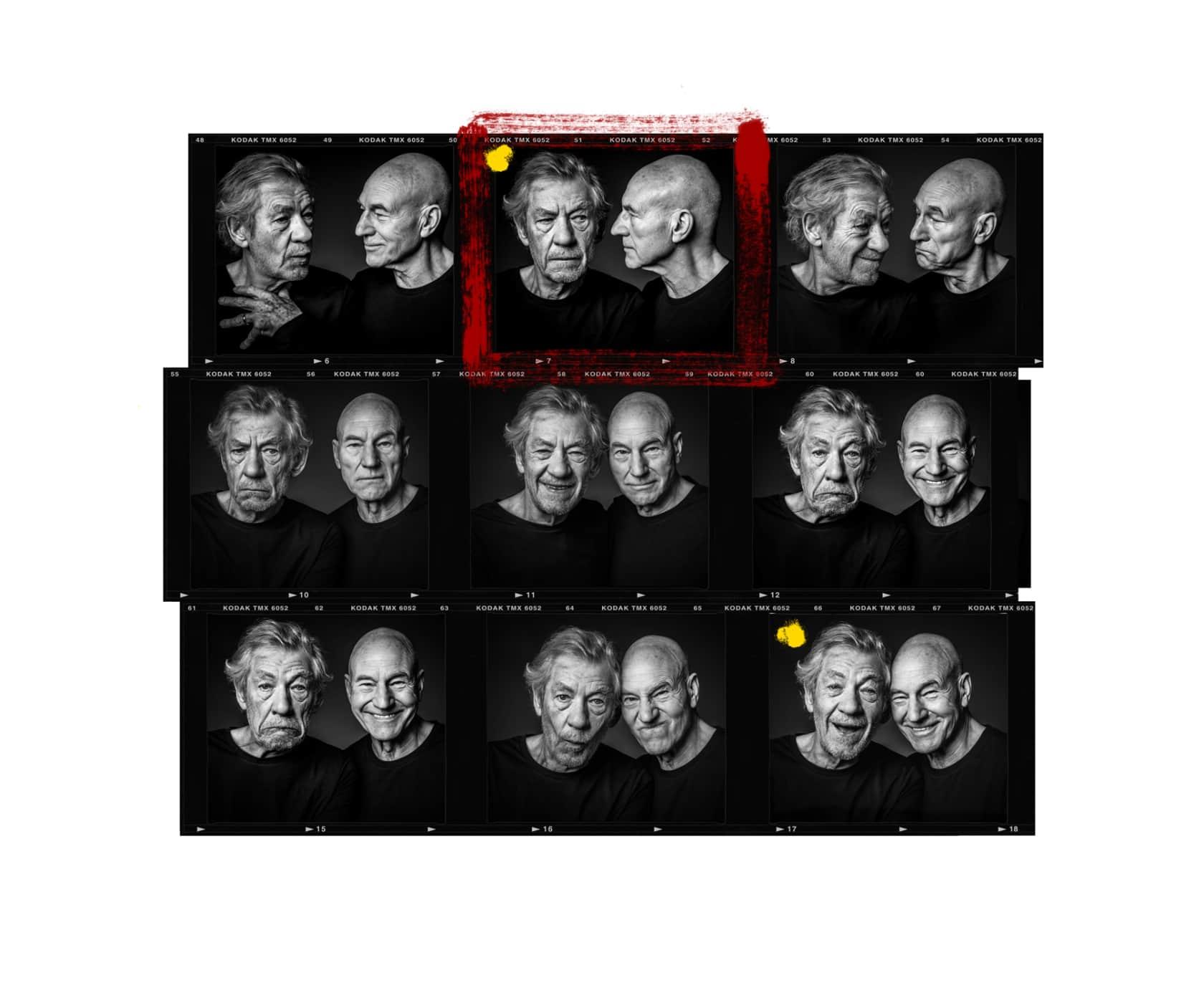 Andy Gotts Ian Mckellen and Patrick Stewart Contact Sheet Fine Art Giclée Archival Print
