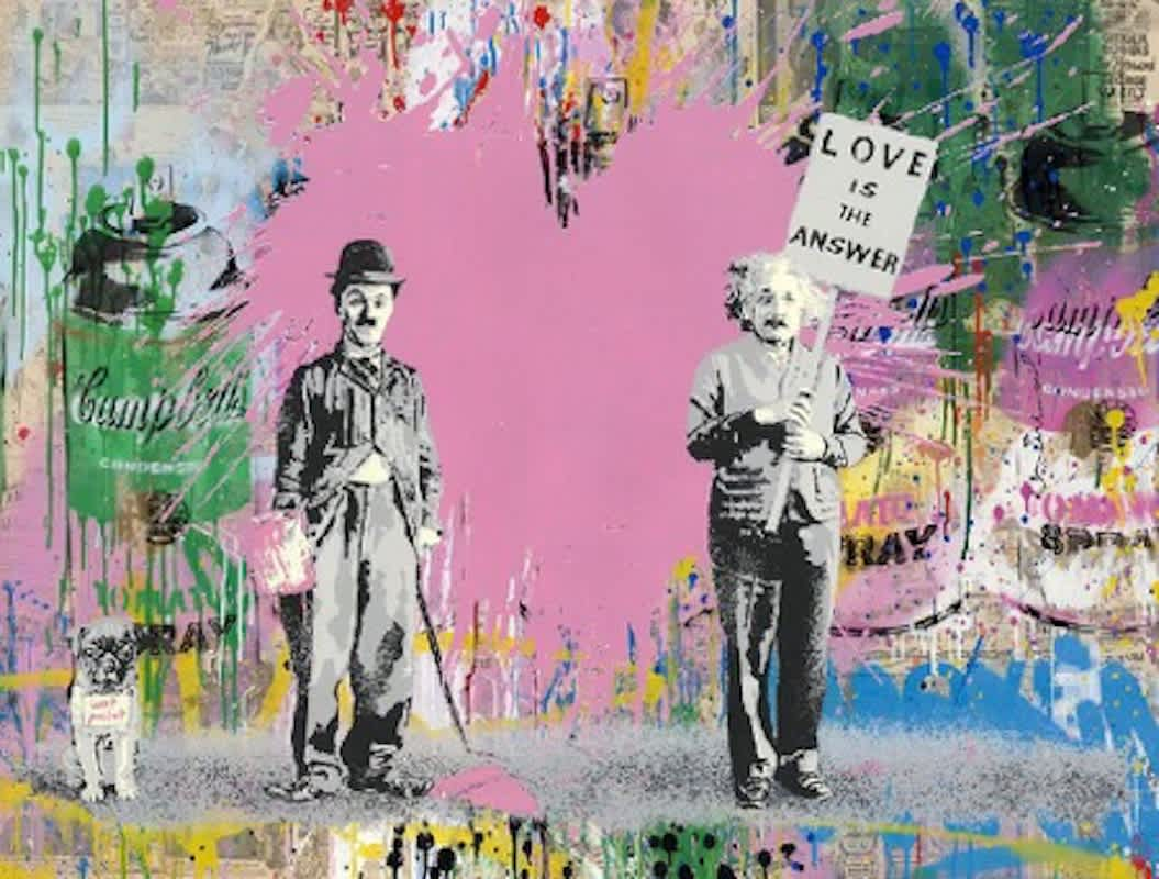 Mr Brainwash Juxtapose Silkscreen and Mixed Media on Paper