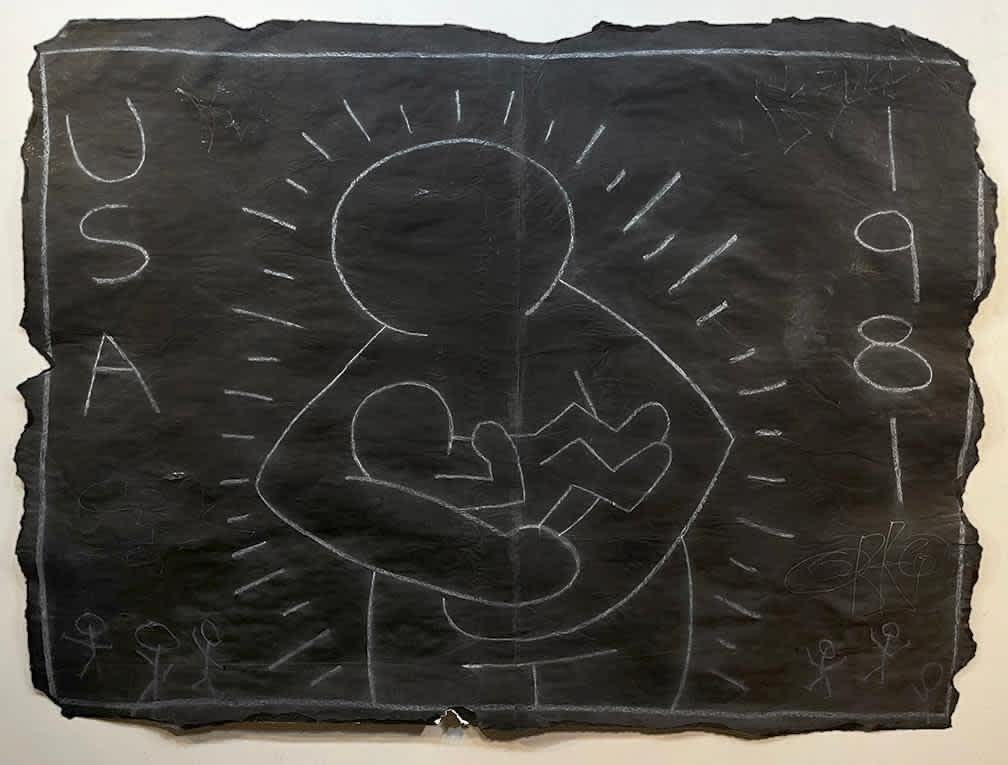 Keith Haring Subway Drawing White Chalk on Black Paper