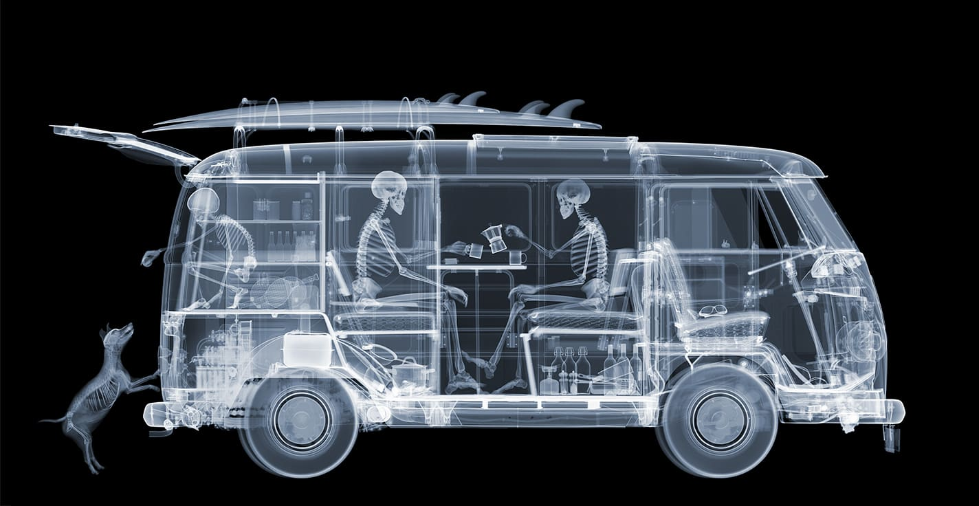 Nick Veasey VW Camper Family Diasec C-Type Print onto Dibond with Plexi Face