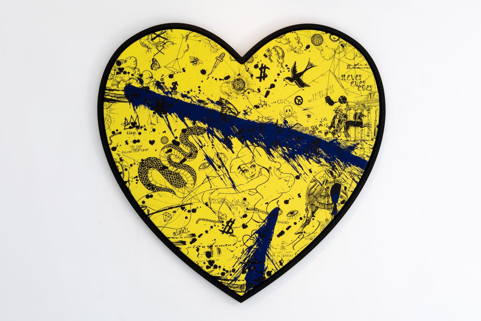 Joseph Klibansky She Came To Break Hearts (Yellow/Black, Ultramarine and Blue Splash) Silkscreen and Acrylic on Canvas