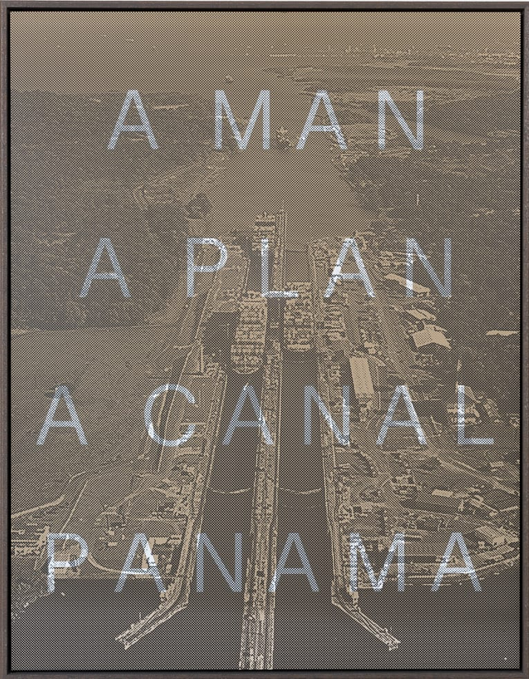 Massimo Agostinelli A Man A Plan A Canal Panama Matt ink on vinyl and acrylic mirror