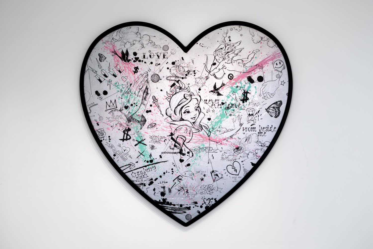 Joseph Klibansky, My Heart Is Yours Silver/Black, Pink and Turquoise Splash, 2020