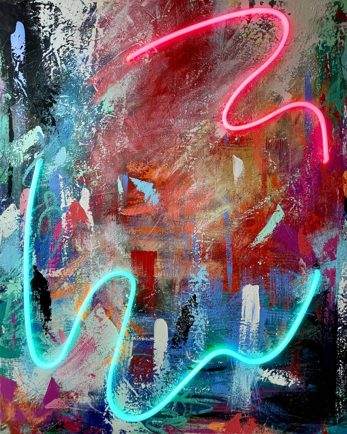 Sean Crim Beauty in Chaos 3 Acrylic, oil, and neon on canvas