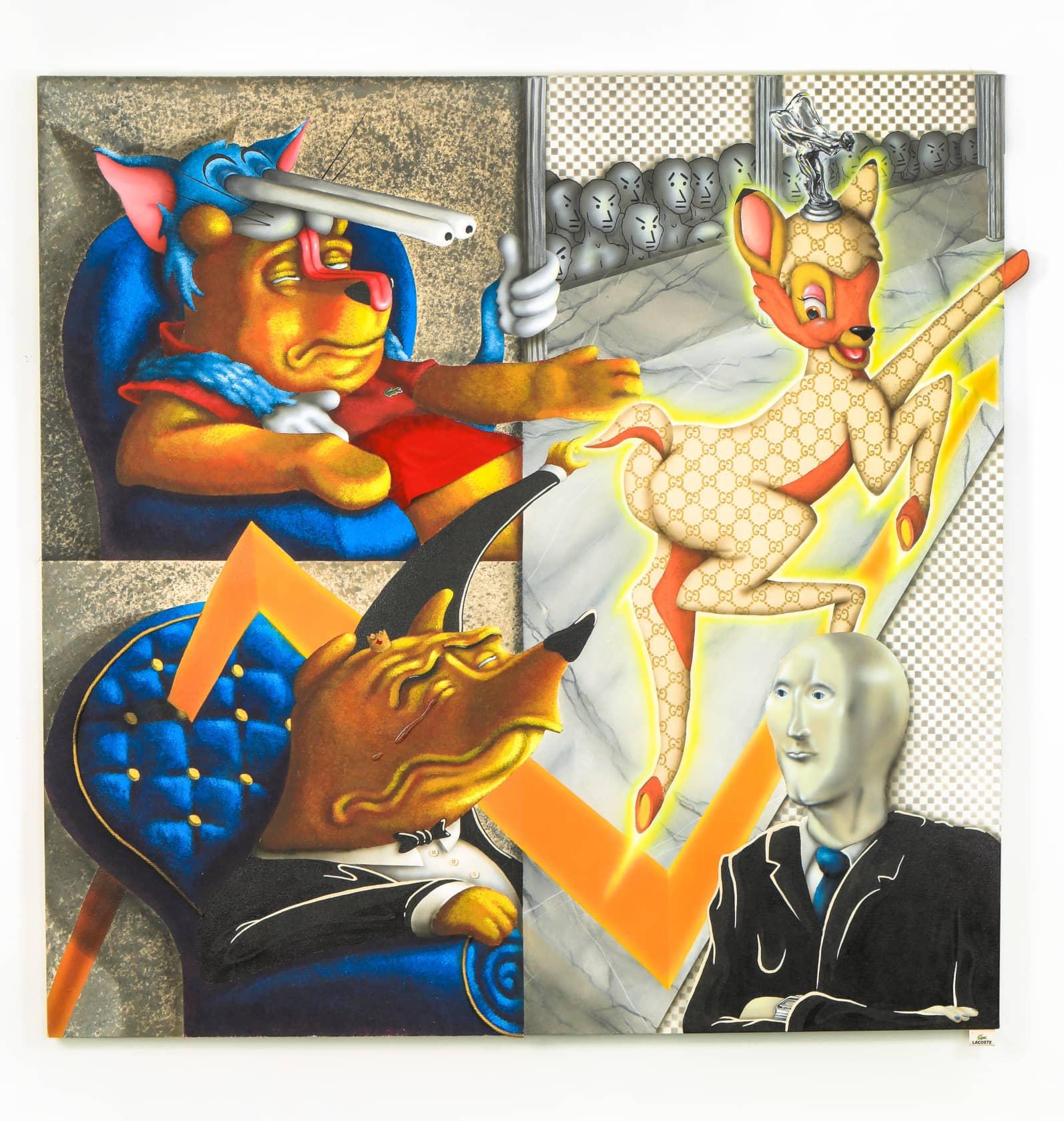 Sebastian Chaumeton The Ceryneian Hind Acrylic, Oil, Fabric and Buttons on Canvas