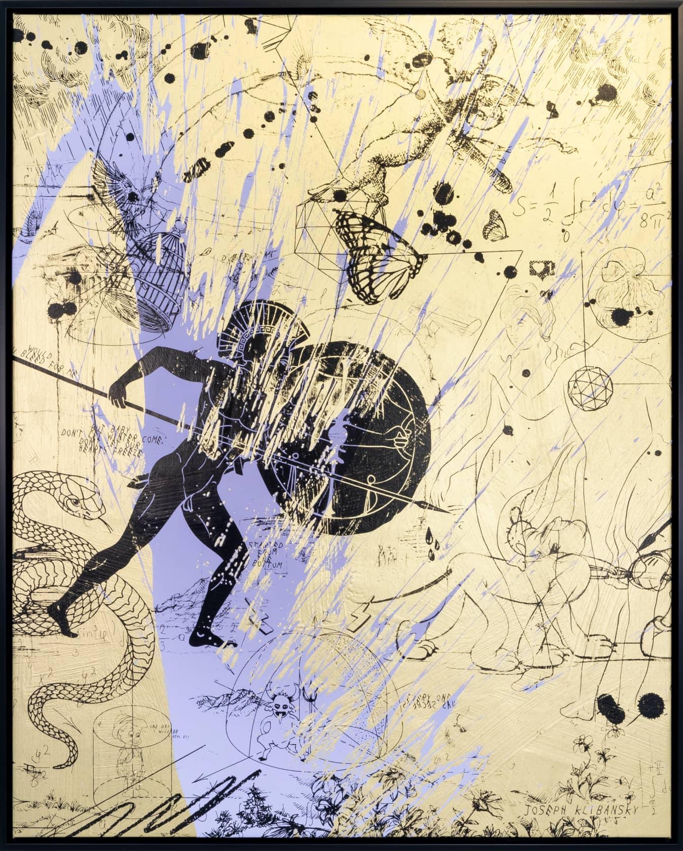 Joseph Klibansky Forever Mine (Gold/Black, Lilac Splash) Silkscreen and Acrylic on Canvas