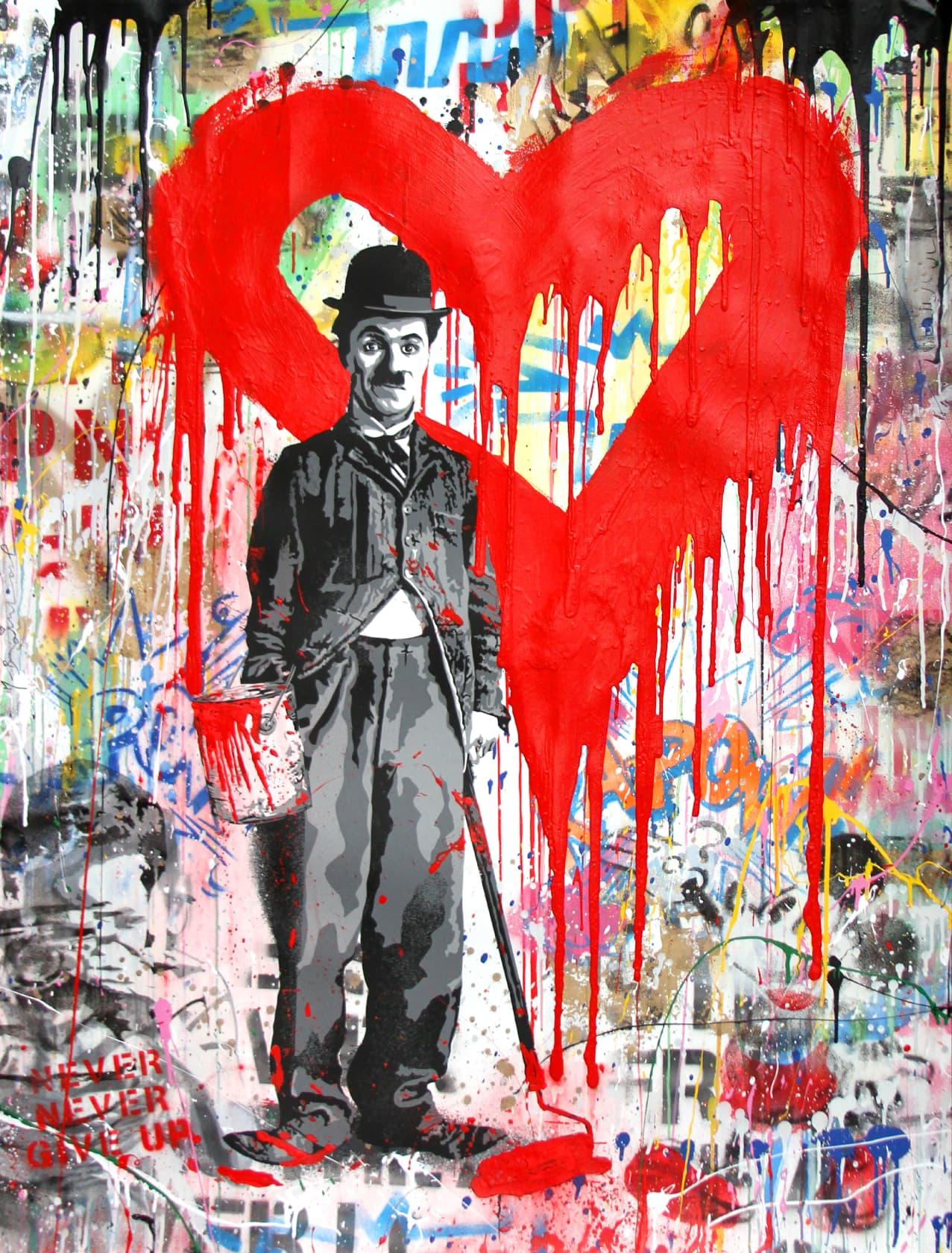 Mr Brainwash Chaplin Silkscreen and Mixed Media on Paper
