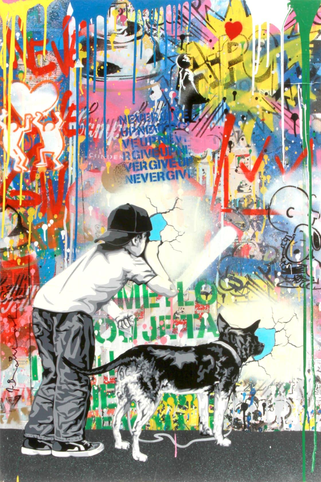Mr Brainwash Peek A Boo Silkscreen and Mixed Media on Canvas