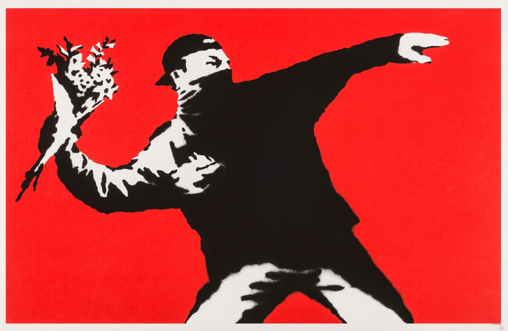 Banksy Love is in the Air - Flower Thrower (Unsigned) Screenprint in Colours