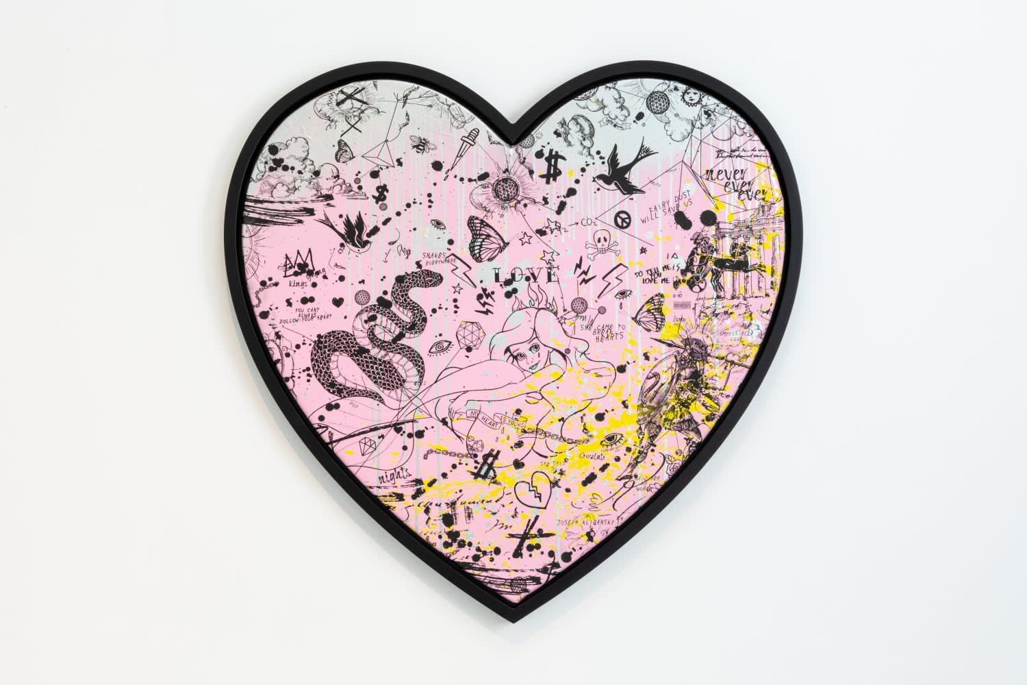 Joseph Klibansky She Came To Break Hearts - Pink/Black, Yellow Splash and Silver Drips Silkscreen and Acrylic on Canvas