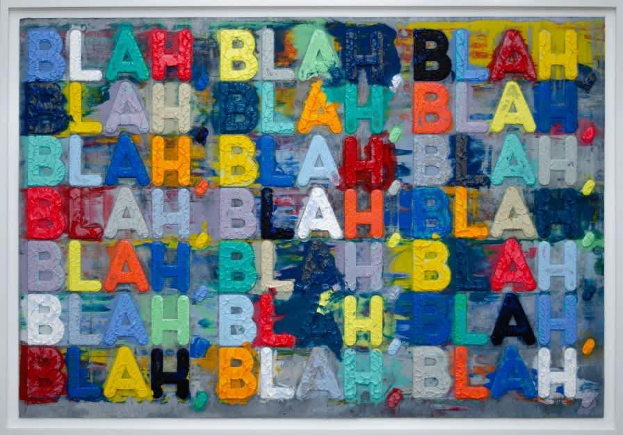 Mel Bochner Blah Blah Blah Monoprint with collage, engraving and embossment