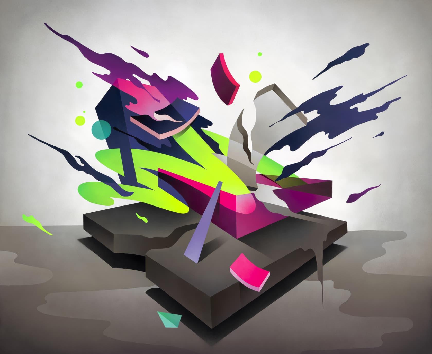 Mikael B Swing Symphony #1 Spray Paint on Canvas