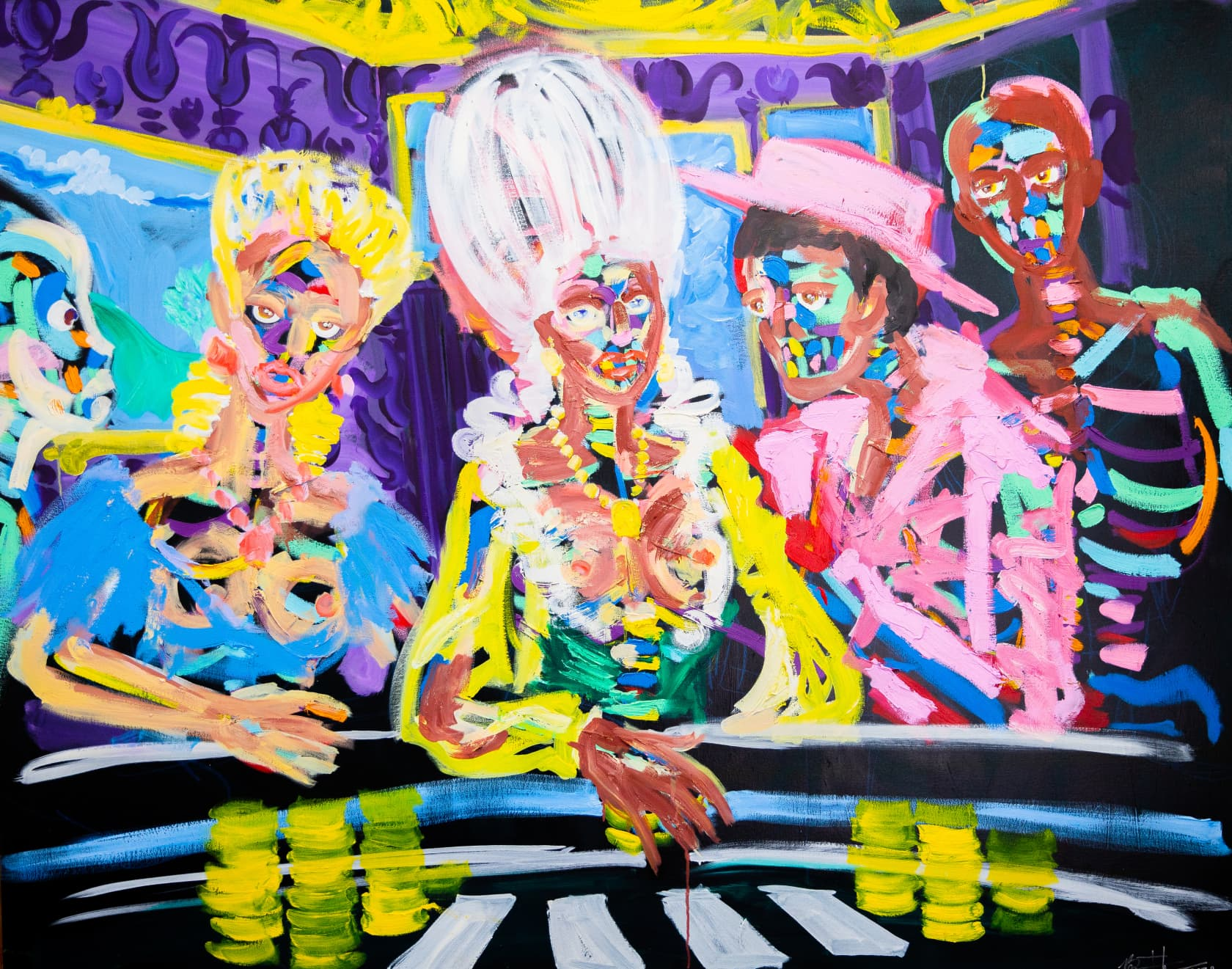 Bradley Theodore The Poker Players Acrylic on Canvas