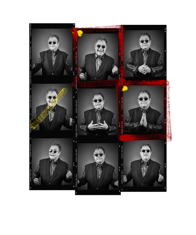 Andy Gotts Elton John Contact Sheet Fine Art Giclée Archival Print