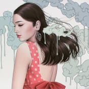 Painting by Sarah Joncas, featuring portrait of woman with dripping clouds background
