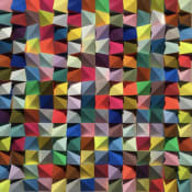 Detail shot of Sean Newport work, featuring colorful geometric wood shapes