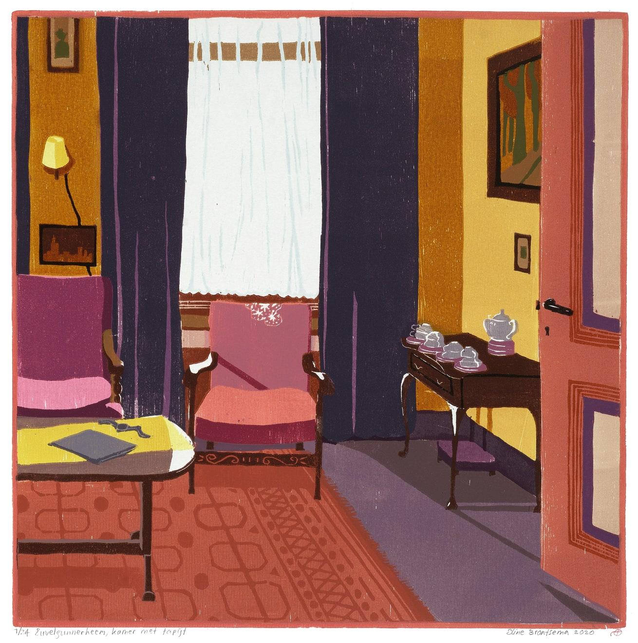 Eline Brontsema, Euvelgunnerheem, kamer met tapijt, 2020