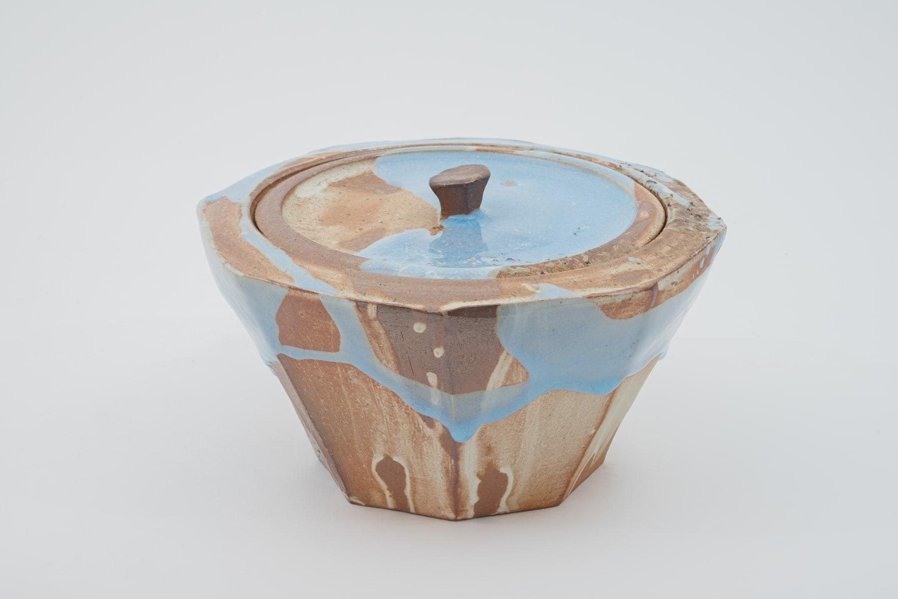 Hosai Matsubayashi XVI, Mizusashi (water keeper) Geppaku glaze / 水指 月白釉流し/, 2020