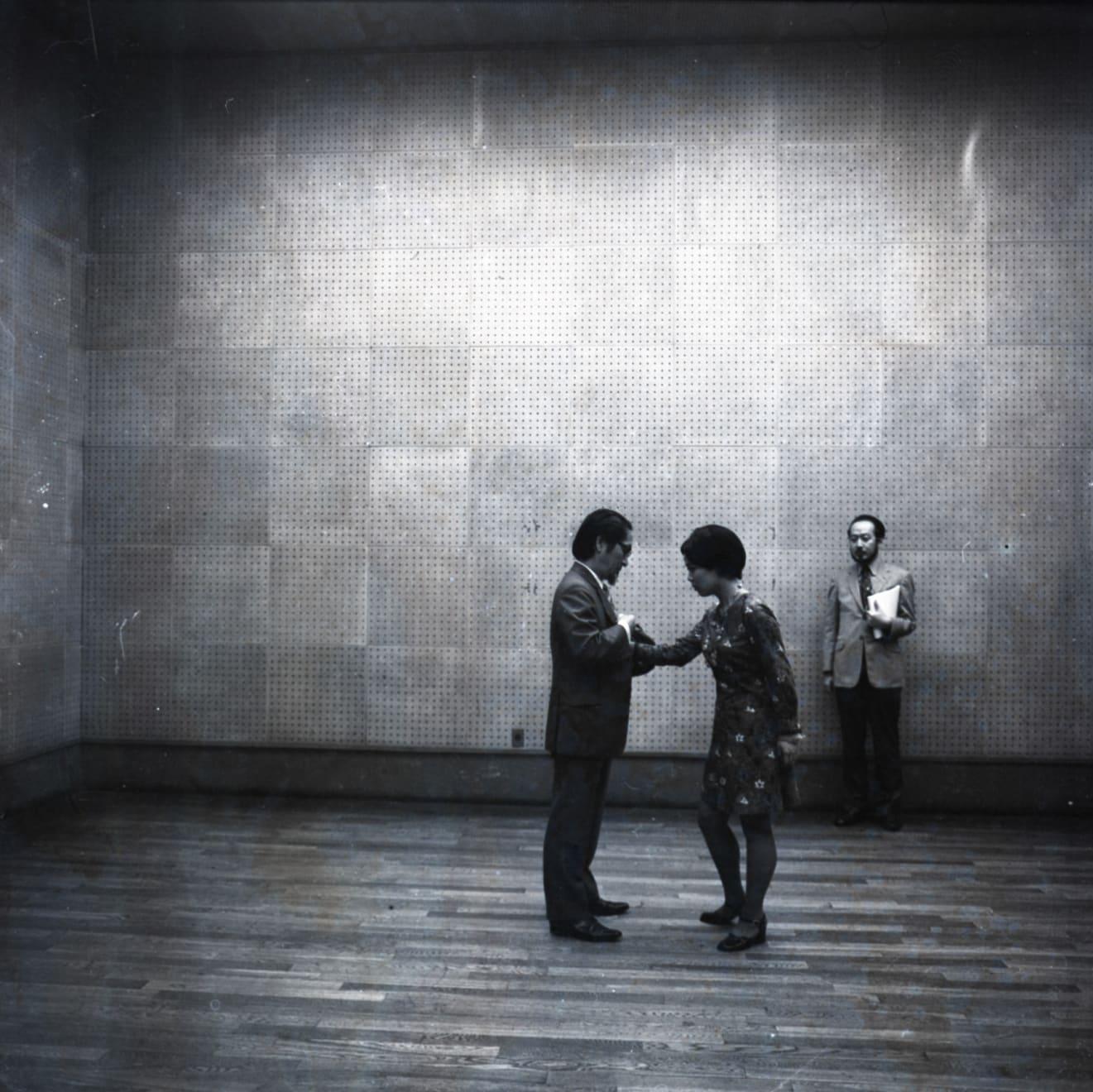 Mitsutoshi Hanaga, Matsuzawa Yutaka Performing 'My Own Death' with Tsujimura Kazuko, witnessed by Yamaguchi Katsuhiro, at 'Tokyo Biennale 1970' at...