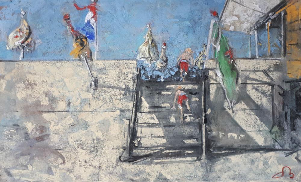 Onno Boerwinkel, Twee jongens op een strandtrap (II), 2020