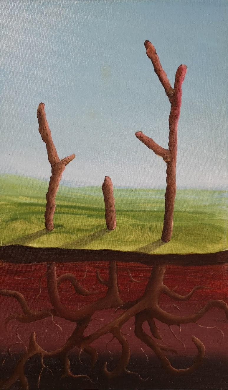 Parham Ghalamdar, On the edge of the spring 50x30cm Oil on canvas, 2019
