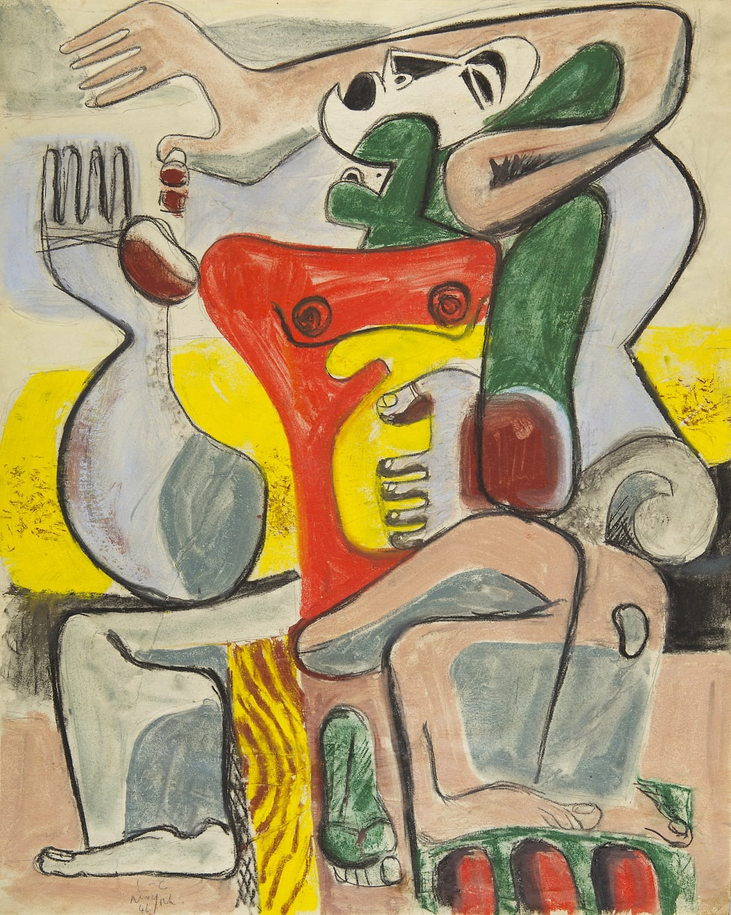 Le Corbusier (1887-1965), The Embrace, 1946, Washed pastel and pencil on fine vellum paper, 56 x 45 cm