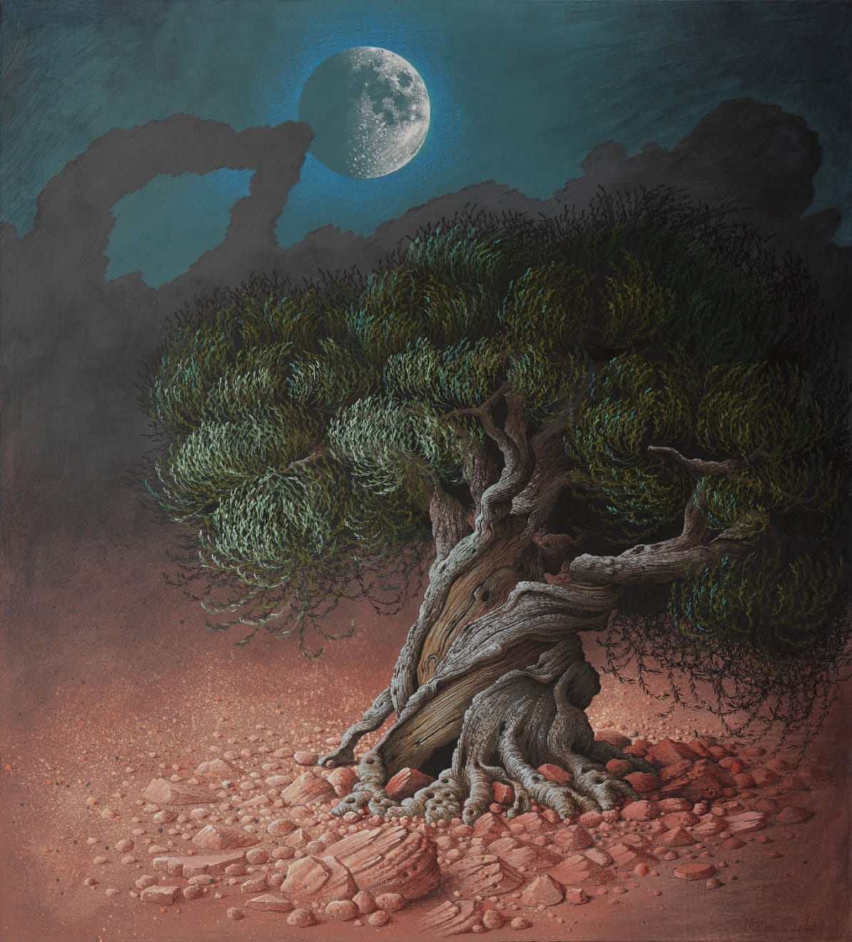 Olive Tree and Moon