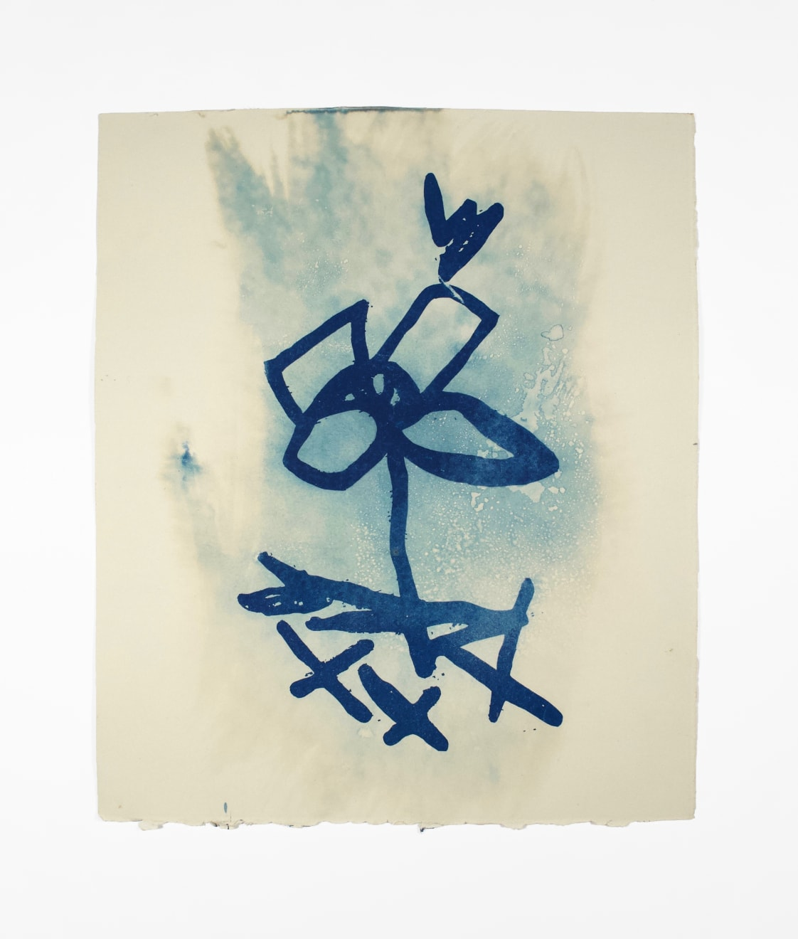 Dario Robleto Azures of the Natural World (Bolan), 2014 cyanotype, ghost image of an original drawing by Marc Bolan, sunlight, ocean water, watercolor paper 13 1/8 x 11 in (33.3 x 27.9 cm) DR 372 SOLD