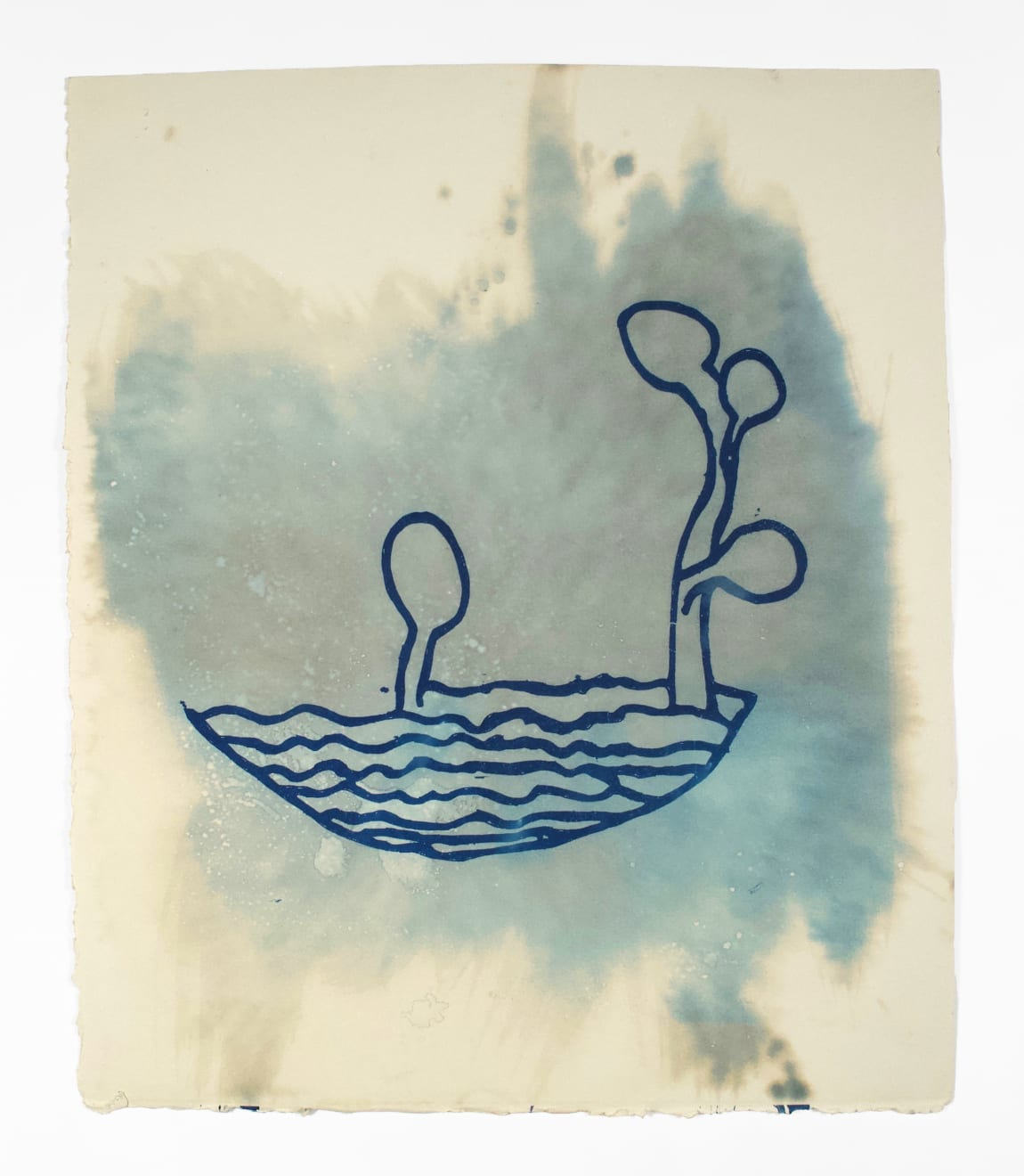 """Dario's work has always explored the human urge to create, even in times of great difficulty. The cyanotypes are prints (a """"ghost image"""") of an original drawing in its maker's own hand. Flashes of creative brilliance by deceased writers and musicians, they are simple, direct, and speak to a kind of vulnerability which is honest, beautiful, and timely. The original images are drawings the authors made in the margins surrounding poems or lyrics; the visual daydreams, doodles, wanderings, flights of imagination that were, in the way Dario sees it, quietly documenting the main creative output—the language. Their prose and lyrics are remembered but not the drawings. As with all of Dario's cyanotypes, or sun prints, he is marveling at the power of our star, the sun, to create life, to revive lost ideas/memories. Although each author is now deceased, the sun revives their dream, or as Dario puts it, """"the sun makes them sing again."""" Dario Robleto Azures of the Natural World (Proust), 2014 cyanotype, ghost image of an original drawing by Marcel Proust, sunlight, ocean water, watercolor paper 13 1/8 x 11 in (33.3 x 27.9 cm) DR 373 $4,500"""