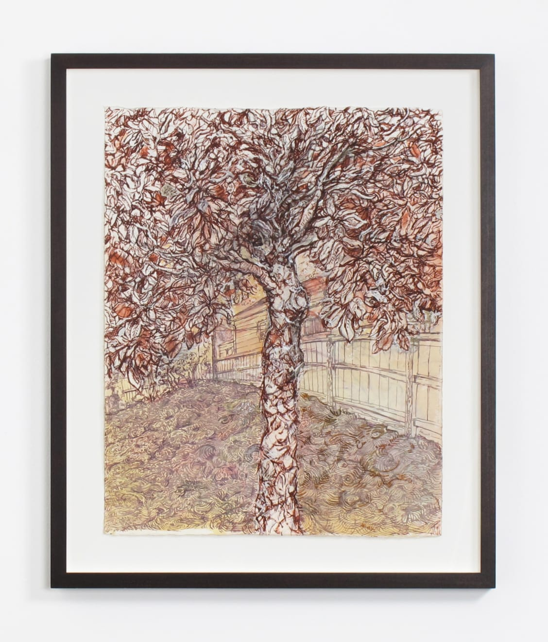 Maria Merrill chooses: Beth Secor, Magnolia, The Drought 2011, 2011 I love the sense of space in this work on paper. The exuberance of the canopy of the Magnolia tree, the slope of the grass and the curve of the fence. It could be any tree, but we know that it isn't, it's this tree. The limited palette reminds me of a sepia toned old photograph which plays with my idea of time - are we in the present or the past? And then Beth's line work and the layering of the watercolor, ink, white out and pencil keep me interested and looking. After spending time with this piece, I pay more attention to trees, texture, grass and other small things when I go out on my walk. Beth reminds me to pay attention to the ordinary and the beauty here. Beth Secor Magnolia, The Drought 2011, 2011 ink, watercolor, whiteout, and pencil on paper 20 1/4 x 16 in (51.4 x 40.6 cm) BS 230 $3,750